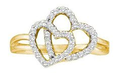0.25 cttw 14k Yellow Gold Double Heart Diamond Promise Ring, 10mm (Sizes 3-11)