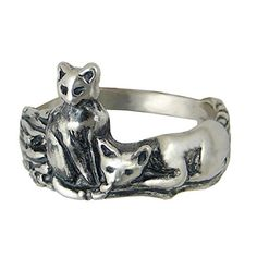 Sterling Silver Pair of Adorable Kitty Cats Ring Size 5 Cat Ring, Best Sellers, Cute Cats, Jewelry Collection, Rings For Men, Jewelry Making, Pairs, Sterling Silver, Kitty Cats
