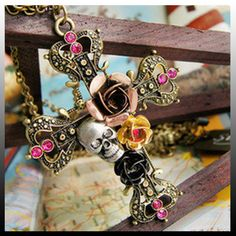 Retro Style Skull Cross Necklace