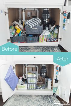 How to organize under the kitchen sink. Get rid of all the clutter and create a functional and beautiful organized cabinet. Learn exactly what organizing products to buy. Under Kitchen Sink Organization, Under Kitchen Sinks, Rv Organization, Organized Kitchen, Kitchen Storage, Living Room Remodel, Kitchen Remodel, Apartment Living, Kitchen Cabinet Liners