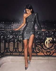 Sparkly One Shoulder Black Short Homecoming Dresses 2019 With Sleeve, - Vestidos Elegant Dresses, Sexy Dresses, Beautiful Dresses, Evening Dresses, Short Dresses, Fashion Dresses, Dress Outfits, Nye Outfits, New Years Eve Outfits