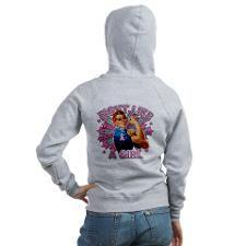 Rosie The Riveter Breast Cancer Zip Hoodie