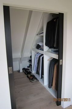 Closet Storage Under Sloping Roof. If you are converting your attic into a living space, include some closet space in your design. Create your attic closet following the layout of the attic space. http://hative.com/creative-attic-storage-ideas-and-solutions/
