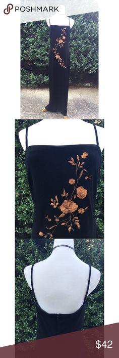 Vintage velvet maxi dress Vintage 90's velvet maxi with embroidered flowers. Really cute side slit. Vintage size 10. Stretchy. Vintage Dresses Maxi