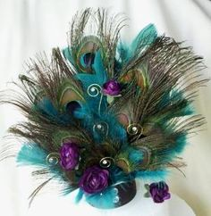 Teal Peacock Cake top Plum Purple teal feathers peacock wedding NEW Design | AmoreBride - Wedding on ArtFire