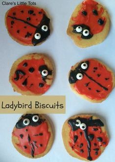 Fun baking idea to make with kids. Perfect for ladybird / ladybug and Minibeast fans. Such a yummy treatLadybird biscuits. Fun baking idea to make with kids. Perfect for ladybird / ladybug and Minibeast fans. Such a yummy treat Spring Activities, Holiday Activities, Preschool Activities, Bug Crafts, Crafts For Kids, What The Ladybird Heard Activities, Minibeasts Eyfs, Preschool Cooking, Holiday Club