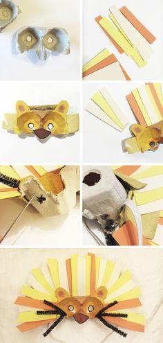 diy kids - cómo hacer una máscara de león con una huevera! idea útil para usar como disfraz para el carnaval.