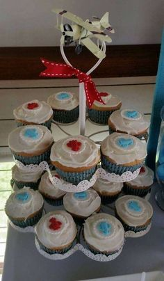 Vintage plane baby shower  party cupcakes! See more party planning ideas at CatchMyParty.com!