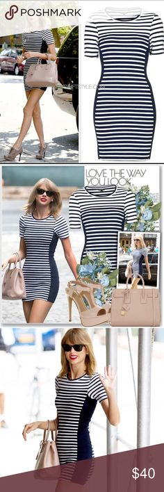 Top Shop striped dress As seen on Taylor Swift. Very body slimming and even has dark panels on the sides. Work only twice. Excellent condition. Price is firm Topshop Dresses Mini