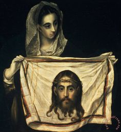 Sixth Station: St Veronica With The Holy Shroud, El Greco (ca. late 16th cent). The legend of Veronica is that having wiped Jesus' face, the cloth retained the image of His face.