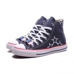 b94ba30660b3 Converse Shoes Blue Chuck Taylor All Star Embroidery Stars Unisex Classic  Canvas High Top Sneakers