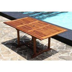 Table de jardin rectangulaire en TECK HUILE - 6/8 personnes