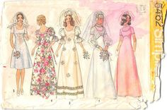 SIMPLICITY 5462 - FROM 1972 - UNCUT - JUNIORS AND MISSES WEDDING DRESS IN TWO LENGTHS OR BRIDESMAID DRESS