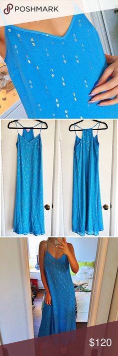 LILLY PULITZER Blue Maxi Dress 💦 Measures approximately 44 inches from the end of the cleavage area to the bottom. No much cereal listed. Adjustable shoulder length. Has two stains at the bottom front of the dress as shown on the last picture. Lilly Pulitzer Dresses Maxi