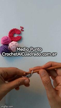 - Medio Punto 📣 😀 Aprender a tejer al Crochet es súper fácil. Love Crochet, Learn To Crochet, Single Crochet, Floral, Flowers, Knitting Squares, Vintage Crochet, Beginner Crochet, How To Knit