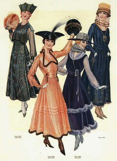 Whimsical hats and beautiful late Edwardian era dresses from 1916 vintage fashion plate color illustration WWI dress gown 10s 20s black coral orange pink blue