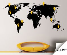 Home Decor  World Map Wall Decal  Wall Decals by HomeWall on Etsy, $142.00 World Map Wall Decal, Wall Decals, Handmade Gifts, Vintage, Etsy, Home Decor, Log Projects, Kid Craft Gifts, Decoration Home
