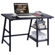 Free Shipping. Buy Costway Modern Trestle Desk Laptop Writing Table Shelves Computer Desk Black at Walmart.com