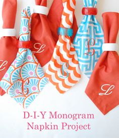 DIY Monogram Napkins