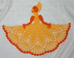 Crochet pattern for a thread October birthday crinoline girl doily pattern Crochet Placemats, Crochet Quilt, Crochet Doll Pattern, Thread Crochet, Filet Crochet, Crochet Motif, Crochet Designs, Crochet Doilies, Crochet Yarn