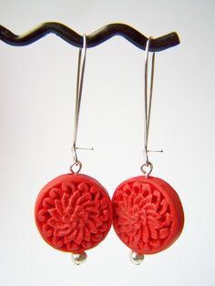 Red Cinnabar Earrings Carved Asian Drops By Polishedtwo