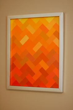 Red, orange wall art, I like the design and how the color values changes.