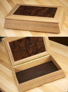 <p>This box design came from Woodsmith No. 194. THe tapered sides… Small Wooden Boxes, Small Boxes, Wood Boxes, Large Jewelry Box, Wooden Jewelry Boxes, Wooden Art, Wooden Crafts, Woodworking Box, Woodworking Projects