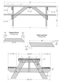 free blueprints for picnic tables | Free picnic table woodworking plans - Classic Style » Woodwork City