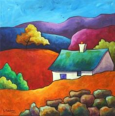 The Shieling Puzzle created by Clarkmega Image copyright: Gillian Mowbray Landscape Quilts, Landscape Art, Naive Art, Pastel Art, Colorful Paintings, Whimsical Art, Painting Inspiration, Art Images, Art Lessons