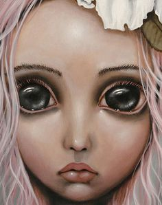 Big Eye art by Angelina Wrona Art Pictures, Art Images, Mixed Media Faces, Christian Artwork, Doll Painting, Eye Art, Simple Art, Big Eyes, Dark Art