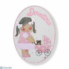 Mini placa de puerta artesanal: Niña con un cochecito de bebé (ref. 12142-02)