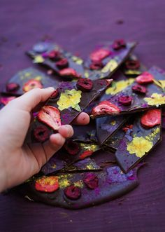 Foraging For the Joy of it: Wildflower Chocolate Bark — The Wondersmith Artisan Chocolate, Chocolate Bark, Purple Heart Wood, How To Temper Chocolate, Freeze Dried Strawberries, Silicone Baking Mat, Theobroma Cacao, Rose Petals, Wild Flowers