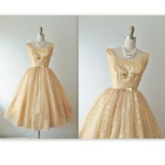 50's Gold Lace Dress // Vintage 1950's Gold Lace Full Cocktail Party Prom Dress XS