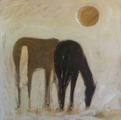 """Namib Horses"" 40x40 painting by karen bezuidenhout"