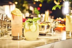 Guests found the refreshing Cointreau French Lemonade & Cucumber Mint Rickey at the garden bar, ready to be sipped.