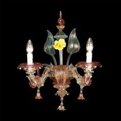 #WallLamp Ca' Rezzonico in #Murano #glass from #Venice worked exclusively by hand. Visit www.sognidicristallo.it to see or buy online all our creations! Price 2 lights € 400.