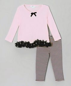 Love this Pink & Black Stripe Petal Tunic & Leggings - Infant by Truffles Ruffles on #zulily! #zulilyfinds