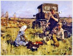 Vsevolod Petrov-Maslakov, Lunch in the Field Social Realism Art, Soviet Art, Still Life, Art Gallery, Fine Art, Tractors, Picnic, Paintings, Culture