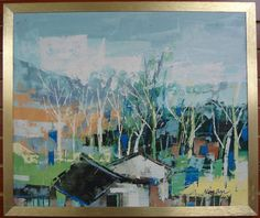 An impressionist oil painting by D Niman of a village, $399. 12/14/12