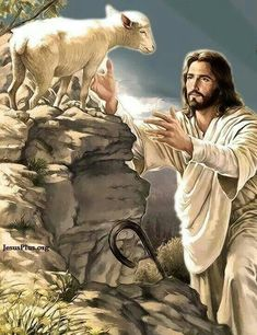 Those of us who are saved are the sheep of the Lord Jesus Christ. Pictures Of Jesus Christ, Bible Pictures, Pictures Of God, Jesus Pics, Jesus Art, God Jesus, Image Jesus, Première Communion, Jesus Painting