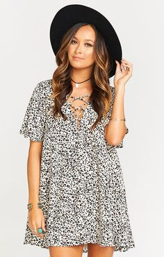 Your summer sundress just got turned up a notch! We love the lace up dress, this beauty is so perfect on its own! Pair with some cute booties or sandals and you're ready to go.   *MADE IN THE GORGE USA* *100% Poly  *Laces up Front  *Lined  *Basically Wrinkle-proof.  Throw in purse for later recommended