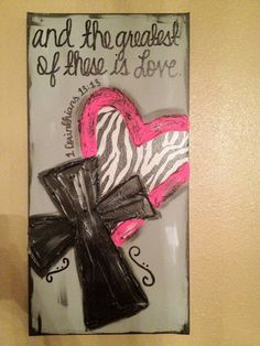 Zebra+Heart+Pink+Cross+Textured+Canvas+and+the+by+ClassyCanvas,+$38.00