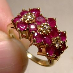 Rubies Three Flower Row Ring with Diamonds Ruby Diamond Size 4 Yellow Gold by FionaKennyAntiques on Etsy Red Jewelry, Jewelry Model, Luxury Jewelry, Modern Jewelry, Diamond Jewelry, Diamond Earrings, Fashion Jewelry, Jewellery, Diamond Sizes