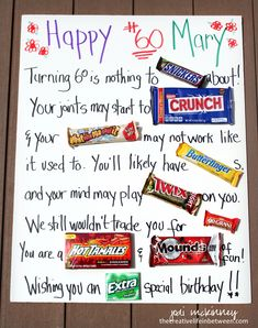 A Birthday Candy Bar Card In Large Print For The Sight Impairedany Bday Will Work