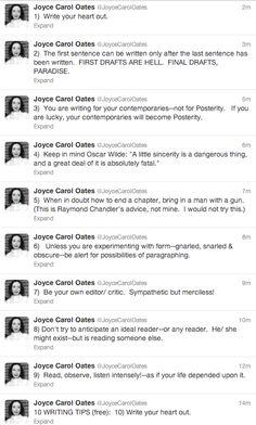 Joyce Carol Oates's Top 10 Writing Tips - shared via Twitter #5 though!