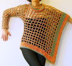 Poncho Una Manga / tejido a crochet, en algodón y seda.
