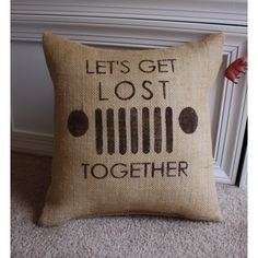Burlap Pillow Jeep cj7 Lets Get Lost ($28) ❤ liked on Polyvore featuring home, home decor, throw pillows, grey, home & living, holiday throw pillows, holiday home decor, gray accent pillows, grey home decor and gray throw pillows