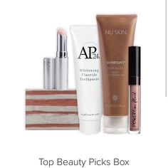 Buy your favourite beauty products in a bundle and save 25%! The Top Beauty Picks Box includes products selected by you as the must have everyday items you can't go without.    This package contains:  1 x AP24® Whitening Toothpaste 1 x Epoch® Polishing Bar 1 x Nu Colour® Lip Plumping Balm 1 x Powerlips Fluid Persistence 1 x Sunright® Insta Glow Self-Tanning Gel Beauty Box, Beauty Secrets, Top Beauty, Beauty Products, Nu Skin, Lip Plumping Balm, Whitening Fluoride Toothpaste, Box Signs, Lip Colors