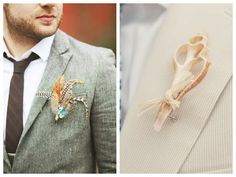 non-floral boutonniere ideas for your groom via Oh Lovely Day | http://su.pr/2As0yw #wedding #groom