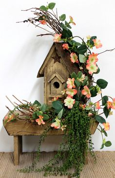 Primitive Country Floral incorporated into rustic birdhouse #flowers #floral